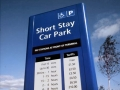 Original Belfast City Airport double-sided free-standing Car Park tariff signage with internal illumination